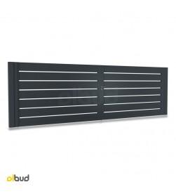 brama-skrzydlowa-aluminiowa-nowoczesna-poziome-lamele-N05-grafit-struktura-alfen-4000x1500mm