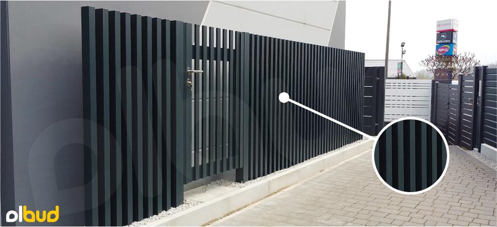 nowoczesne ogrodzenie pionowe R09 Alfen